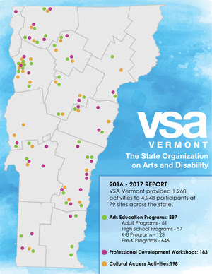 A gray map of Vermont is speckled with colored dots around the state representing the locations of VSA Vermont programs.
