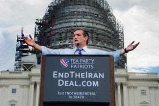 Sen. Ted Cruz speaking at a the Stop The Iran Nuclear Deal protest  in front of the U.S. Capitol in Washington, DC on September 9, 2015.  Notables at the protest were Ted Cruz, Donald Trump, Sarah Palin, Duck Dynasty's Phil Robertson.  The event was organized by the Tea Party.