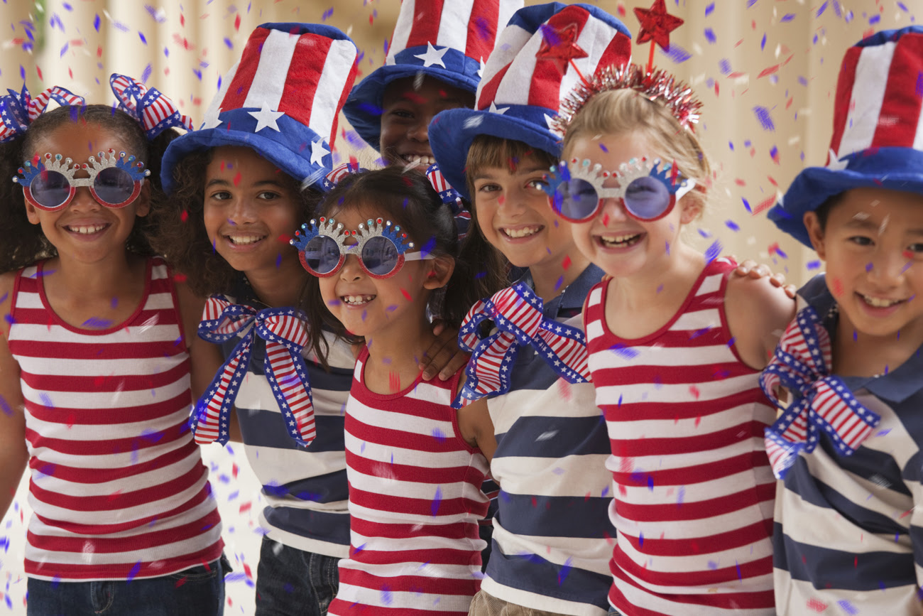 Children celebrating the 4th of July
