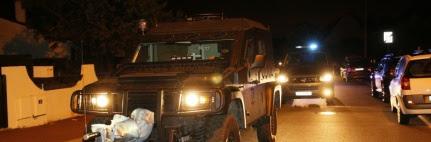 Un véhicule du Raid quitte les lieux après l'assaut donné à Magnanville