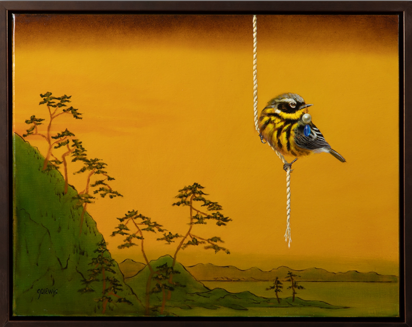 Painting of a small bird with a golden background.