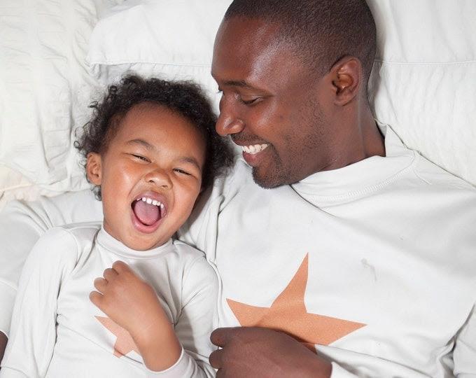 Dad and Baby/ child Star Pyjamas - Dad and child matching - perfect christmas pyjamas - pyjamas for a new dad - festive pyjamas