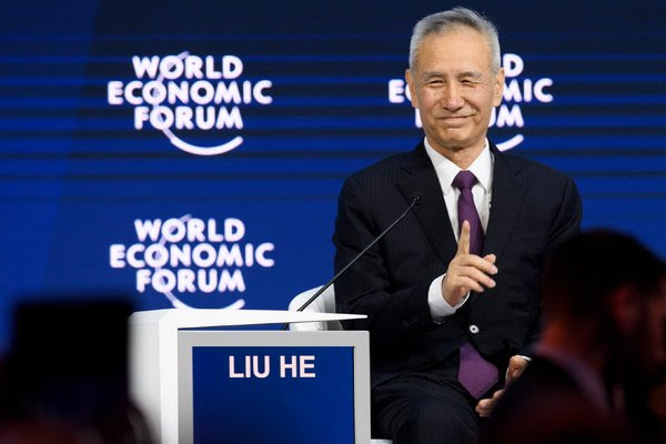 Liu He, a top economic policy adviser to the Chinese president, drew a full house to his presentation to global business and political leaders at the World Economic Forum.
