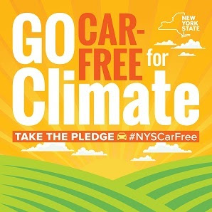 Car free for climate graphic of sun rays and green landscape