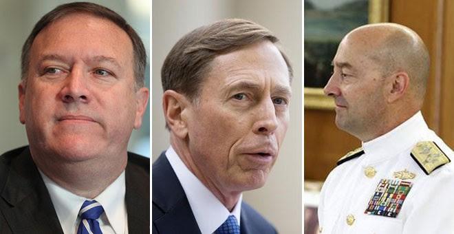 de izquierda a derecha, Mike Pompeo, David Petraeus y Jim Stavridis.- AGENCIAS