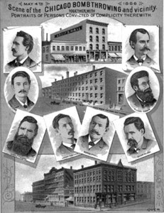 आठों गिरफ्तार मज़दूर नेताओं और शिकागो की घटनाओं की जगहों को दिखाने वाला उस समय का एक पोस्टर।