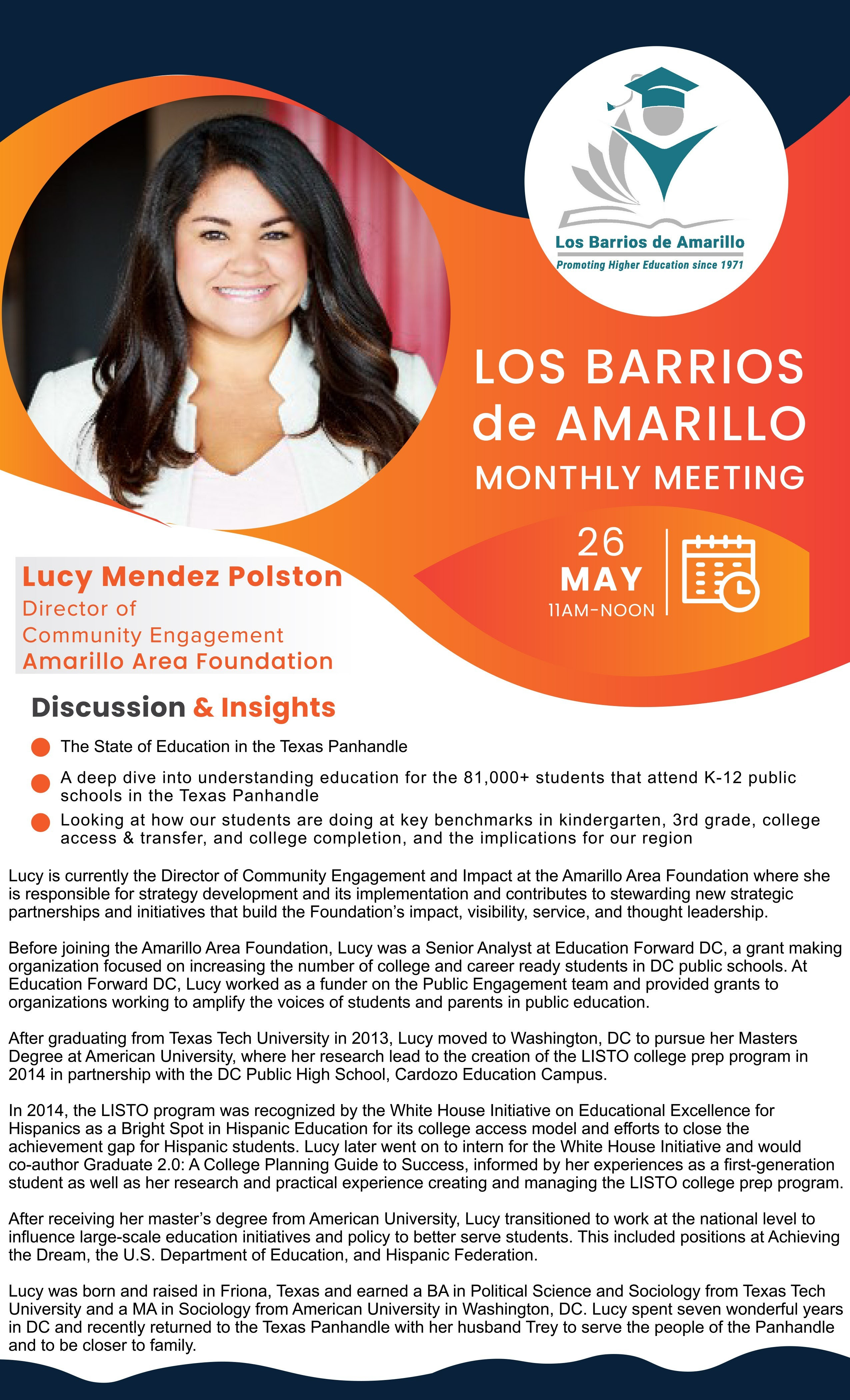 Los Barrios De Amarillo  Monthly Meeting Speaker