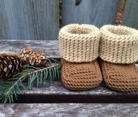 Knit Baby Booties, Newborn, Color Block, Merino, Made to Order