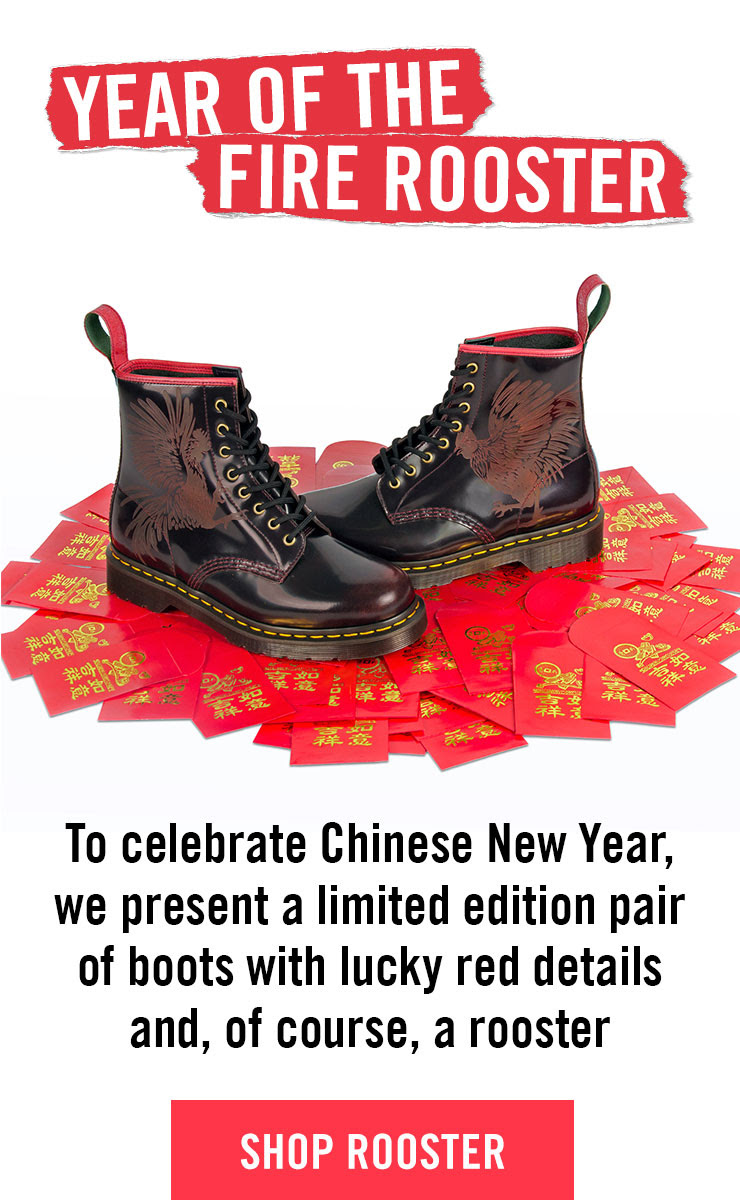 YEAR OF THE FIRE ROOSTER - To celebrate Chinese New Year, we present a limited edition pair of boots with lucky red details and a laser-etched rooster - Shop Rooster