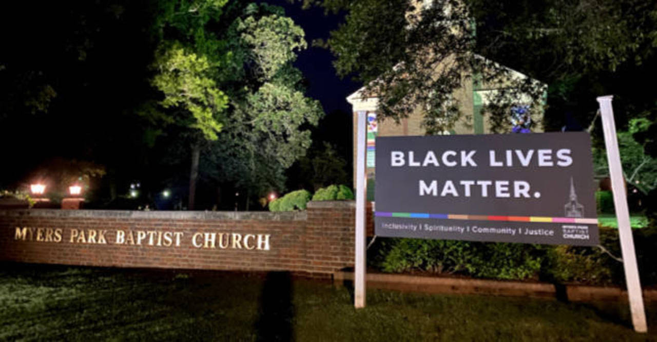 Black Lives Matter sign outside the Myers Park Baptist Church