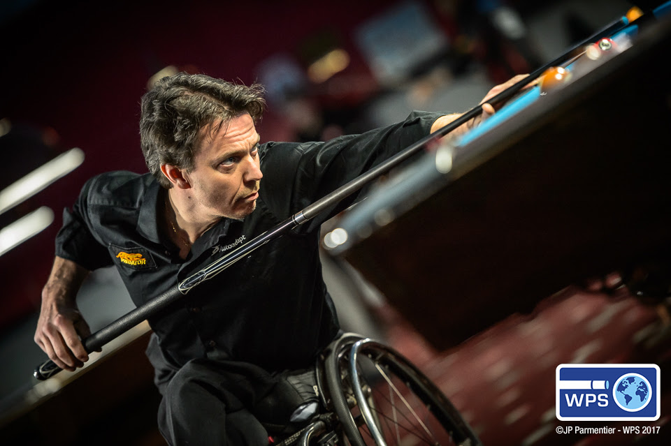 4-time World 9-ball Wheelchair Champion Henrik Larsson of Sweden advanced to the final 64 in New York.