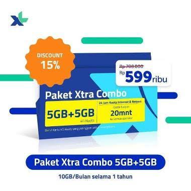 Kartu Perdana XL Xtra Combo 5 GB + 5 GB [12 Bulan]