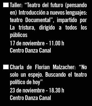 """17 noviembre Taller: """"Teatro del futuro - 23 noviembre Charla Florian Malzacher"""