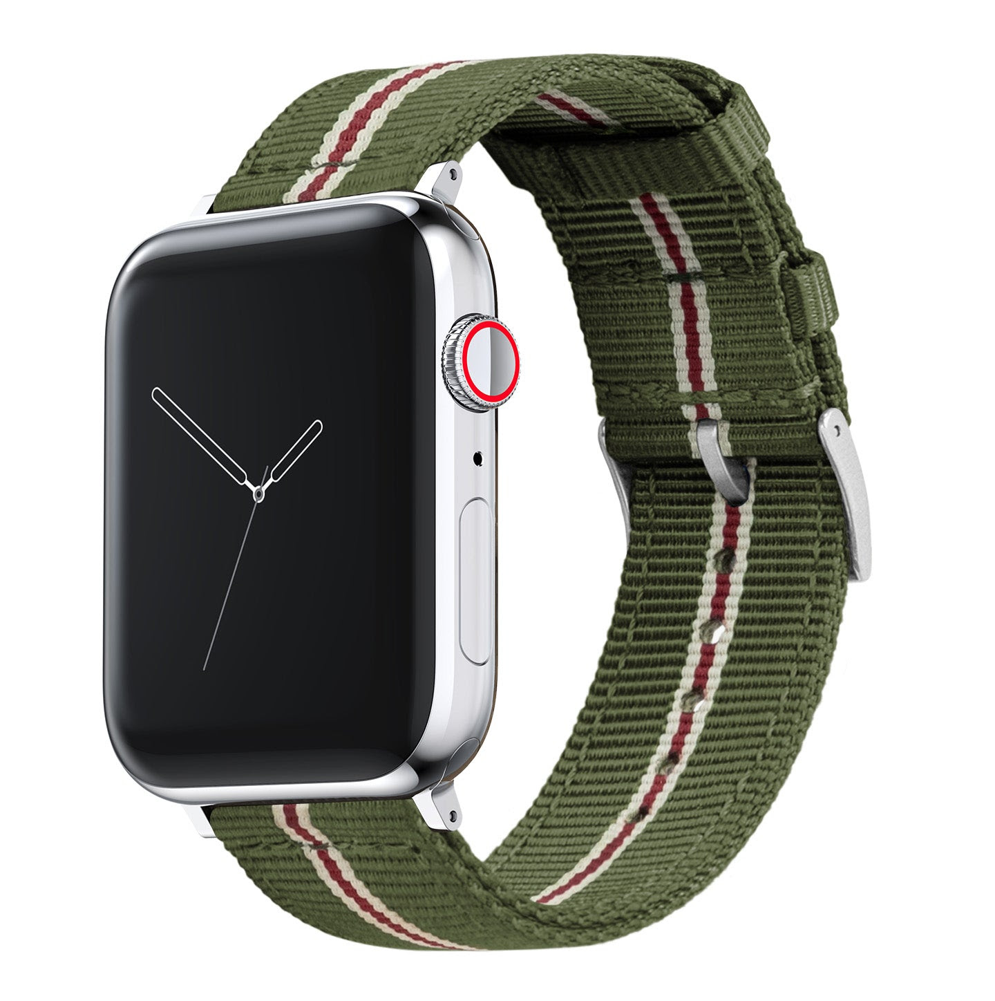 Image of Apple Watch | Two-piece NATO Style | Army Green & Crimson