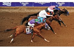 Toast Of New York (center) was second to Bayern (inside) and held off California Chrome (outside) in the 2014 Breeders' Cup Classic at Santa Anita Park