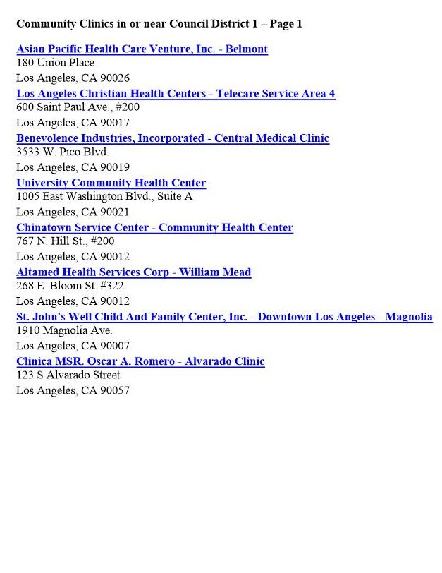 Community Clnics in CD 1 Page 1B