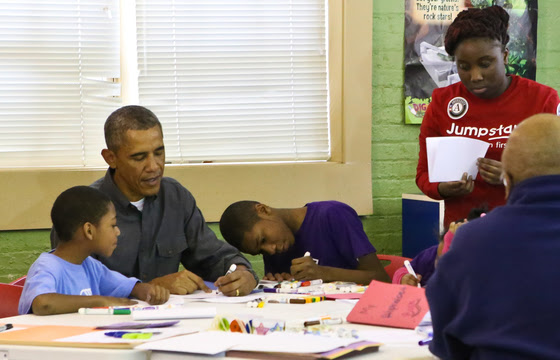 POTUS coloring with kids on MLKDay