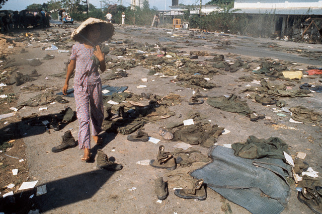 Abandoned Uniforms During the Fall of Saigon