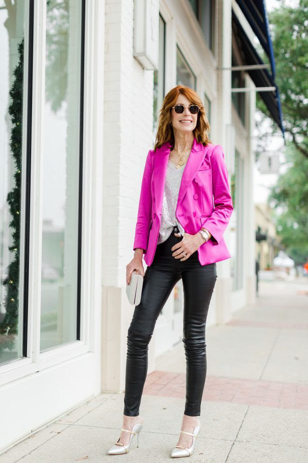 Cathy Williamson wearing pink blazer by Veronica Beard