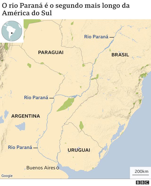 mapa mostra localização do rio Paraná