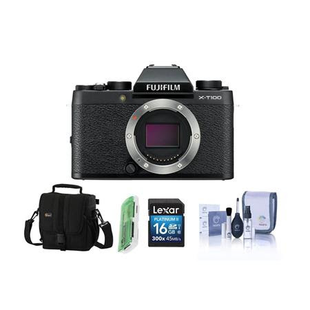 X-T100 Mirrorless Digital Camera Body, Black - Bundle With 16GB SDHC Card, Camera Case, Cl