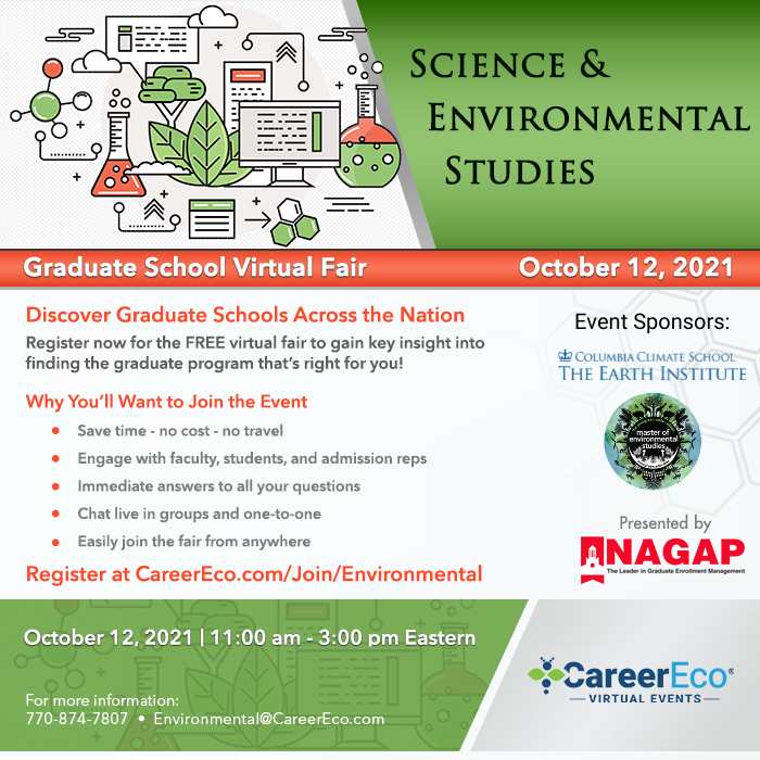 Science & Environmental Studies Graduate School Virtual Fair - October 12, 2021