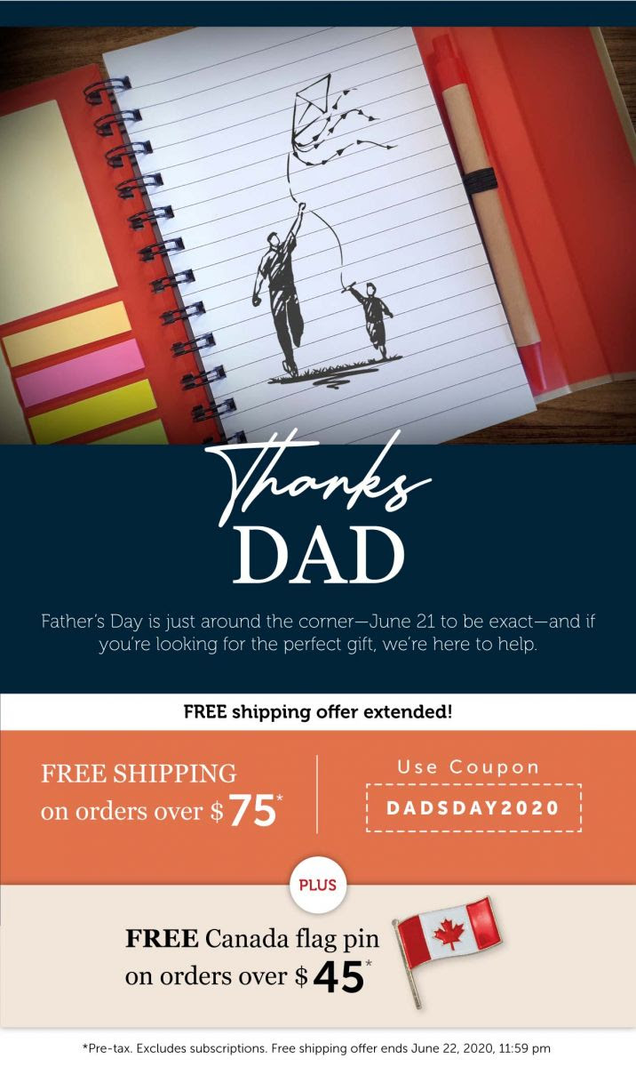 Free Shipping for Fathers Day + FREE CANADA PIN!