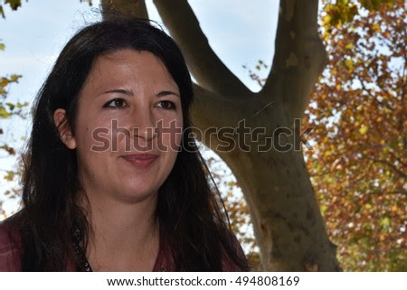 Marseille, France - October 06, 2016 : French cartoonist Anais Lelievre (daughter of Jac Lelievre) at the 5th edition of the International festival of press and political cartoons at l'Estaque.