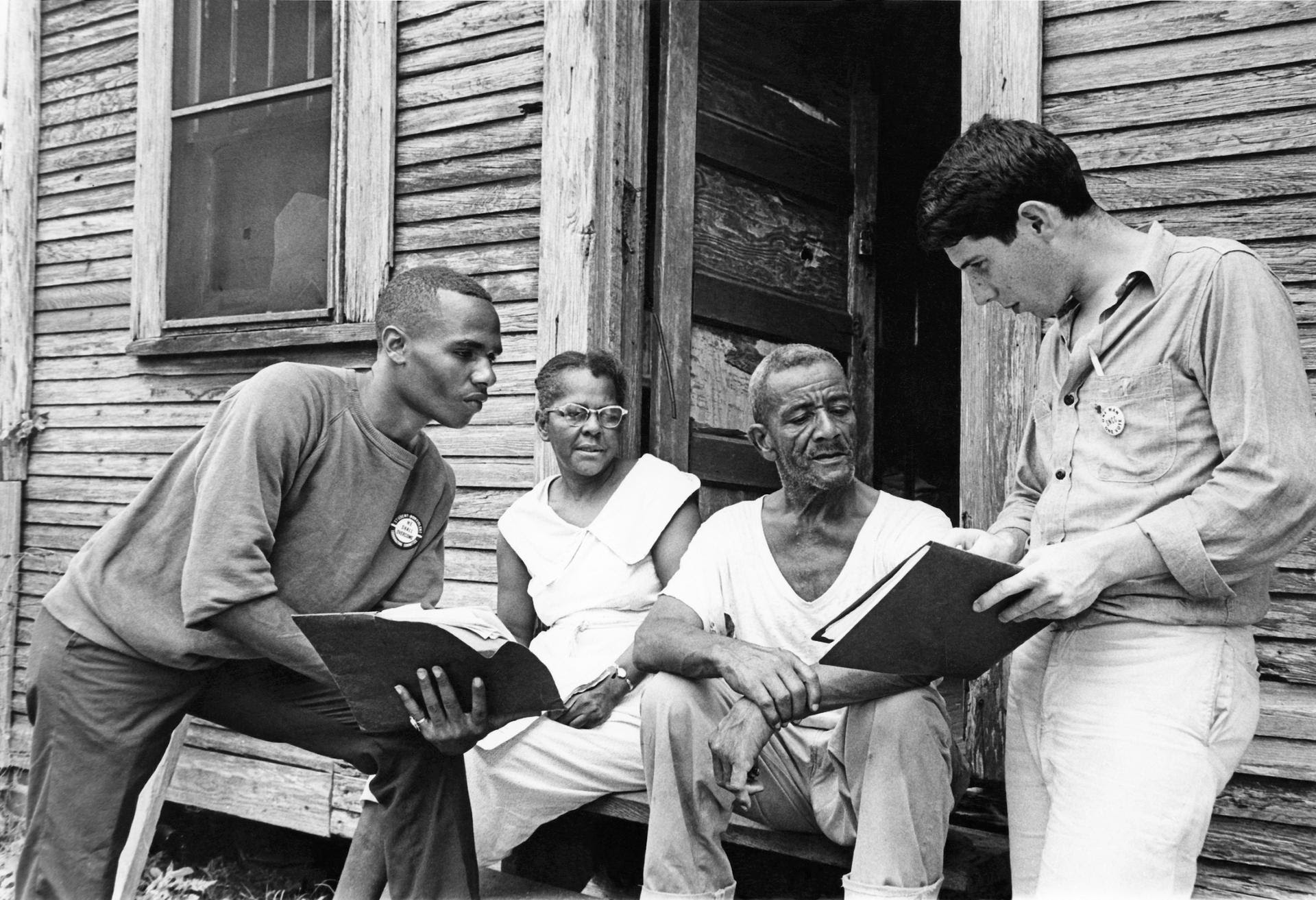 Freedom Summer volunteers registering voters in 1964 Mississippi.