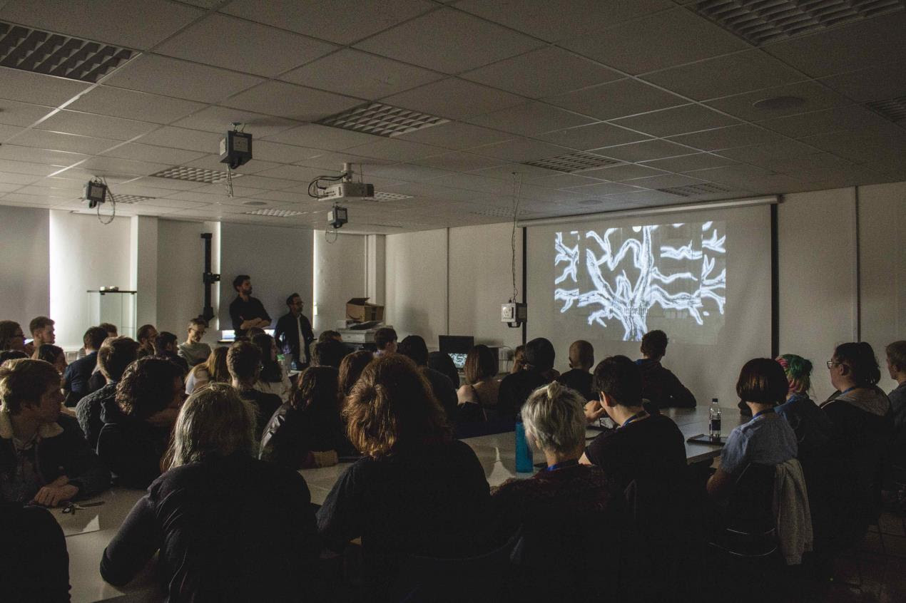 Plymouth College of Art students watch Xavi Bové's Tree of Memory for the first time