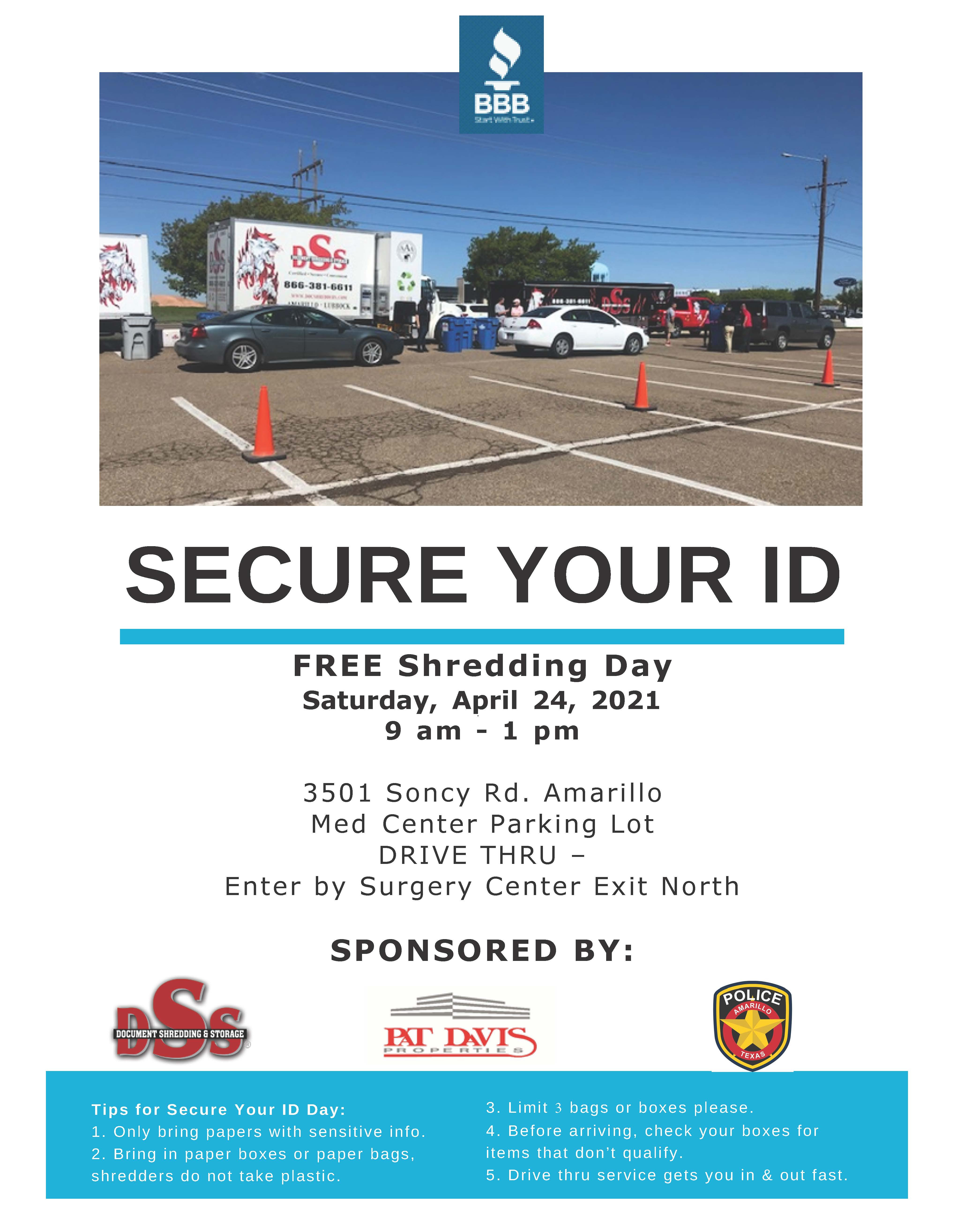 Better Business Bureau Secure Your ID Day 2021 @ Amarillo Med Center Parking Lot | Amarillo | Texas | United States