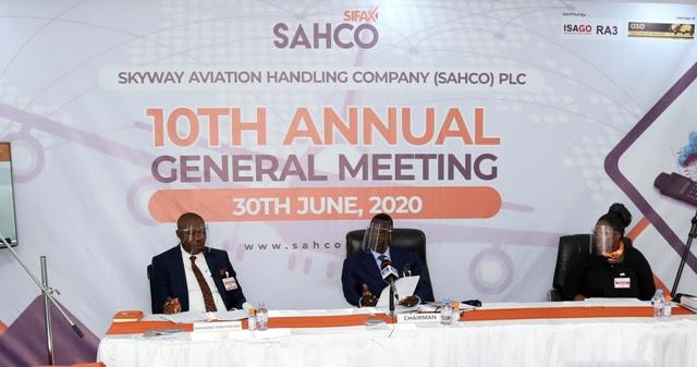 * L-R: Skyway Aviation Handling Company PLC (SAHCO), Managing Director/CEO, Basil Agboarumi, SAHCO Chairman, Dr (Barr) Taiwo Afolabi (MON), SAHCO Company Secretary/AGM Legal Services, Mrs Omolara Bello-Odeinde during the company's 10th Annual General Meeting.