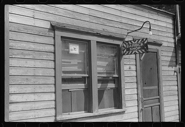 Union barber shop in mining town, Scotts Run, West Virginia