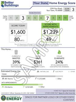 Sample home energy score report