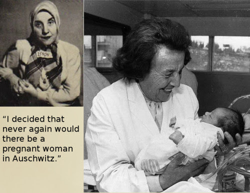 "pro-choice-or-no-voice:webbgirl34:  thebigsisteryouneveraskedfor:  Gisella Perl was forced to work as a doctor in Auschwitz concentration camp during the holocaust. She was ordered to report ever pregnant women do the physician Dr. Josef Mengele, who would then use the women for cruel experiments (e.g. vivisections) before killing them. She saved hundreds of women by performing abortions on them before their pregnancy was discovered, without having access to basic medical supplies. She became known as the ""Angel of Auschwitz"". After being rescued from Bergen-Belsen concentration camp she tried to commit suicide, but survived, recovered and kept working as a gynecologist, delivering more than 3000 babies.  I want to nail this to the forehead of every anti-abortionist who uses the word ""Holocaust"" when talking about legal abortions.  Out of the Ashes (free online streaming) is a movie based on Gisella Perl coming to America and having to share her story with immigration officials about what happened in Auschwitz, even delving into why she performed abortions and how. It's really an amazing movie and I highly recommend it."
