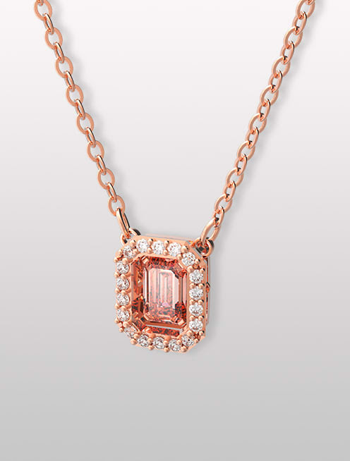 Collar Millenia, zirconia Swarovski de talla octogonal, rosa, baño en tono oro rosa