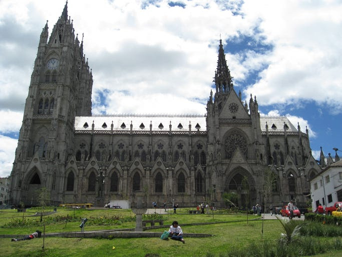 The                                                           Basilica of                                                           the National                                                           Vow in Quito,                                                           the capital of                                                           Ecuador, can                                                           be seen from                                                           nearly                                                           anywhere in                                                           the city, and                                                             the views from                                                           the twin clock                                                           towers of the                                                           largest                                                           neo-Gothic                                                           basilica in                                                           the Americas                                                           are                                                           breathtaking.                                                           If you look                                                           closely, some                                                           of the                                                           gargoyles are                                                           shaped like                                                             Gal??pagos                                                           animals.