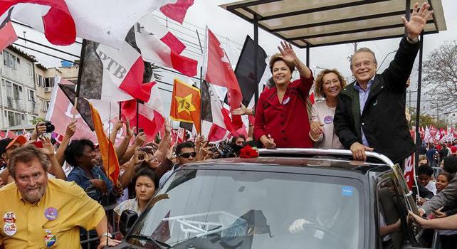 Dilma Rousseff durante uno de sus últimos actos de camapaña.