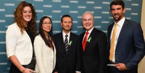 Olympian Allison Schmitt; Acting SAMHSA Administrator Kana Enomoto; HRSA Adminstrator Dr. George Sigounas; HHS Sec'y Dr. Tom Price; & Michael Phelps