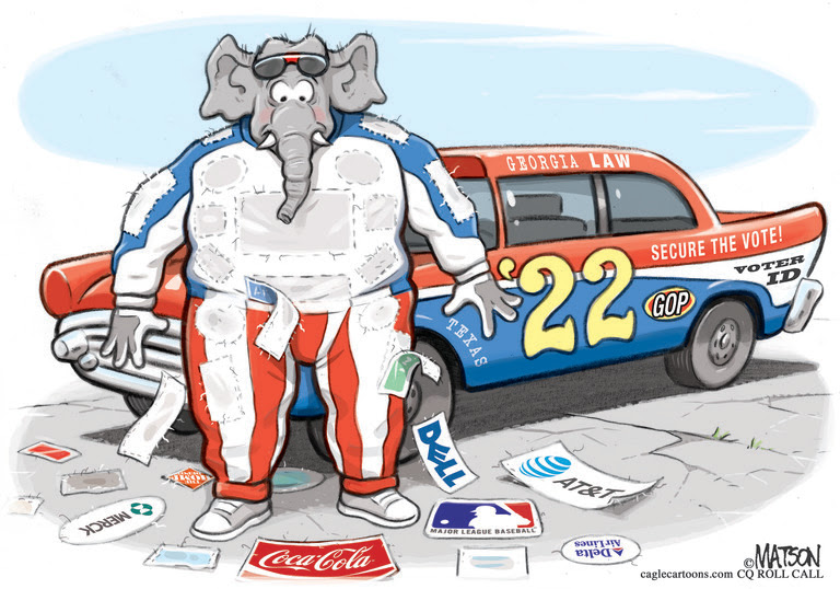 ELECTIONS, VOTE, VOTING RESTRICTIONS, GEORGIA,TEXAS, LAWS, REPUBLICAN PARTY, CORPORATE, CORPORATIONS, SPONSOR, NASCAR2022