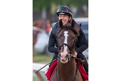Tyler Gaffalione is all smiles aboard War of Will at Saratoga Race Course