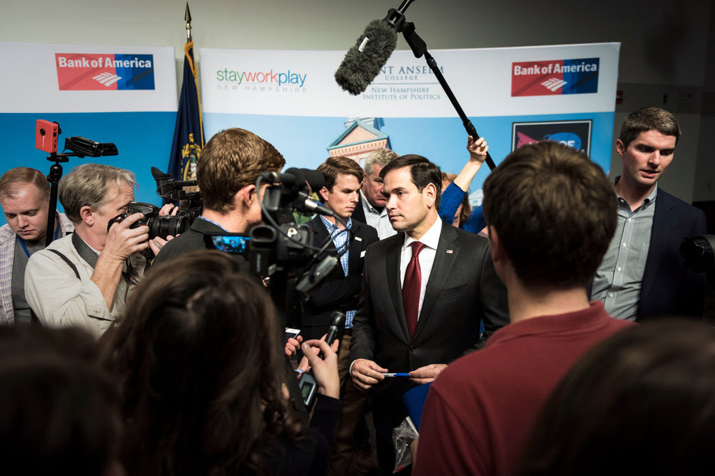 Senator Marco Rubio of Florida greeted potential supporters after an event at the New Hampshire Institute of Politics at Saint Anselm College in Manchester, on Wednesday.