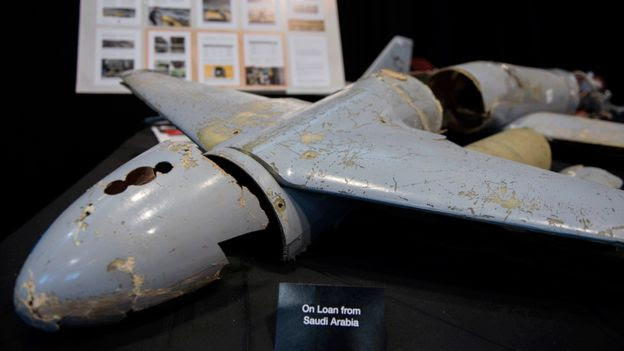 The remnants of a drone that the US says was supplied by Iran to Houthi rebels