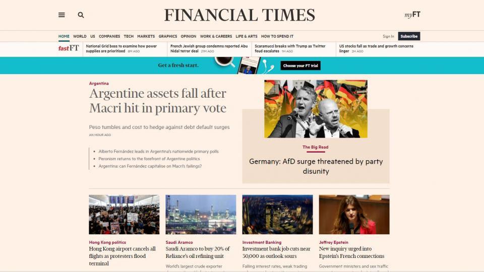 Argentina está hoy en las portadas de los principales diarios financieros del mundo.