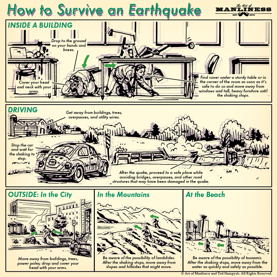 how to survive an earthquake illustration