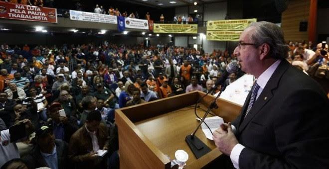 Eduardo Cunha  en un evento organizado por sindicalistas en Sao Paulo. - AFP