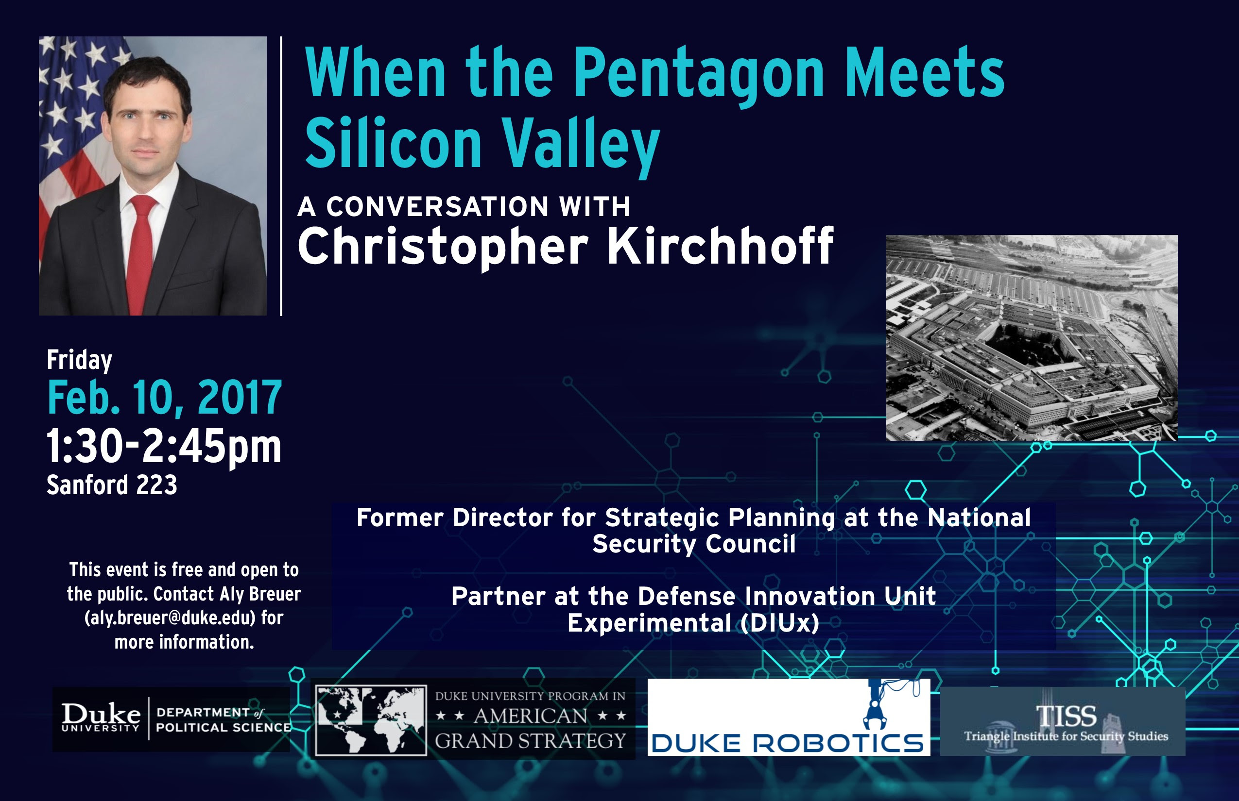 When the Pentagon Meets Silicon Valley, A Conversation with Chris Kirchhoff @ Rhodes Conference Room (Sanford 223) | Durham | North Carolina | United States