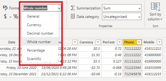 default format list