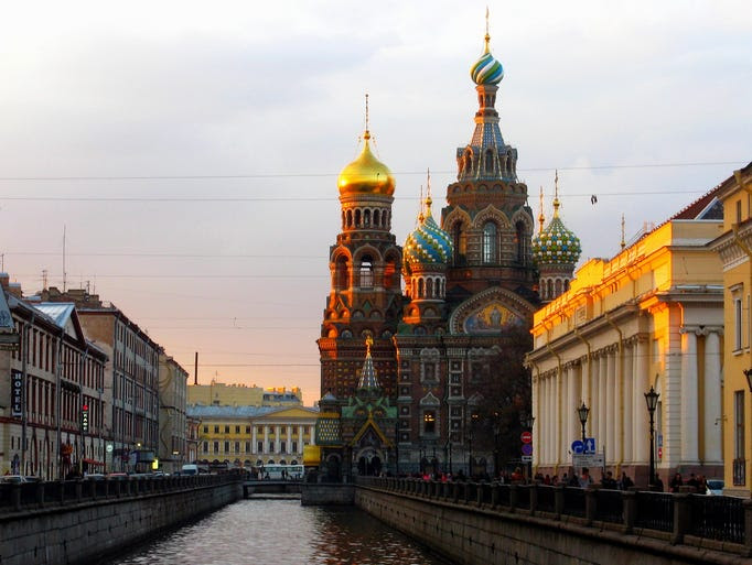 The                                                           Church of Our                                                           Savior on the                                                           Spilled Blood                                                           in St.                                                           Petersburg                                                           gets its name                                                           from its                                                           location on                                                           the spot where                                                             Emperor                                                           Alexander II                                                           was                                                           assassinated.                                                           Despite its                                                           dark                                                           beginnings,                                                           the                                                           Russian-style                                                           cathedral has                                                           a rather                                                           whimsical and                                                           intricate                                                           fa??ade.