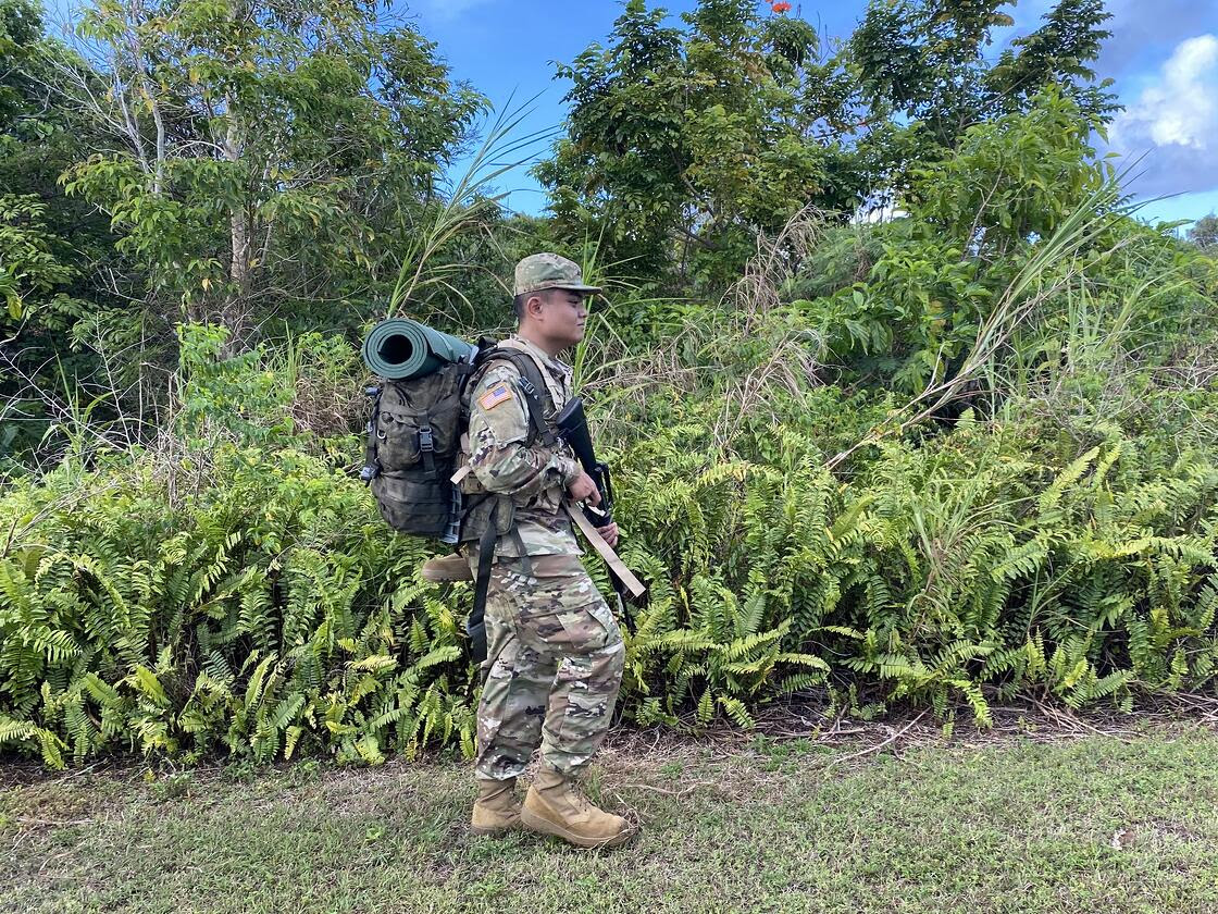 NMC ROTC Cadet John Dimalanta executed combat training scenarios while participating in the ROTC Spring 2021 Field Training Exercise from April 8-11, 2021 on Guam.